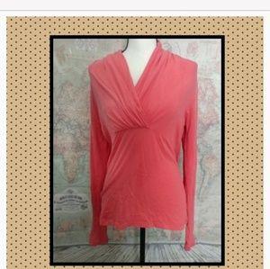 2/$15 Lilla P coral wrap surplice pima cotton top